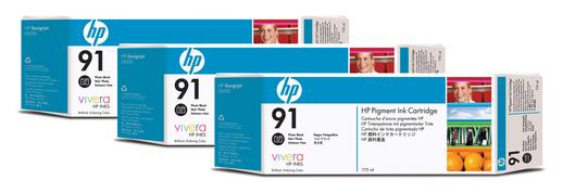HP 91 Tinte 3-Pack schwarz Foto Vivera je 775ml