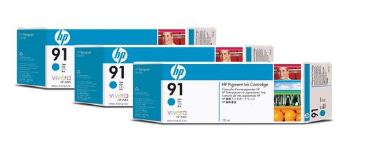 HP 91 Tinte 3-Pack cyan Viveraje 775ml