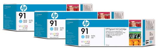 HP 91 Tinte 3-Pack cyan lightVivera je 775ml