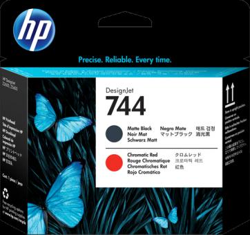 HP 744 Druckkopf matt schwarz/chromatisch rot